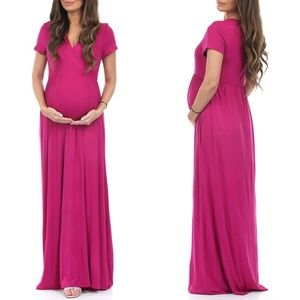 Mother Bee Maternity Magenta Faux Wrap Maxi Dress